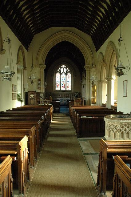 The interior of Coberley Church