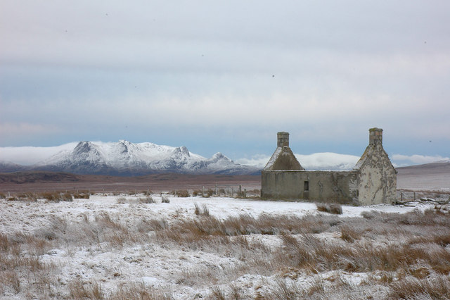 Moine House (ruin) and Ben Loyal in winter