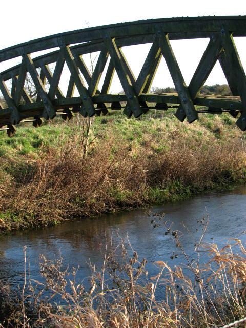 Below the wooden bridge