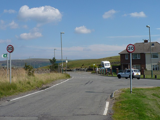Road junction at the edge of Fochriw