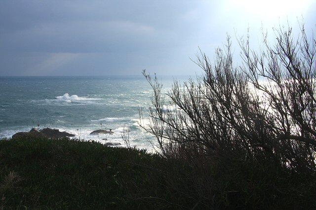 Rough seas at Polpeor Cove