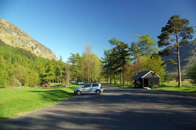 Carpark near Acharn, Glendoll, Angus