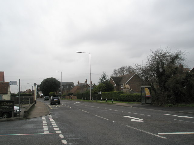 Looking west at the junction of Cot Lane and the A259