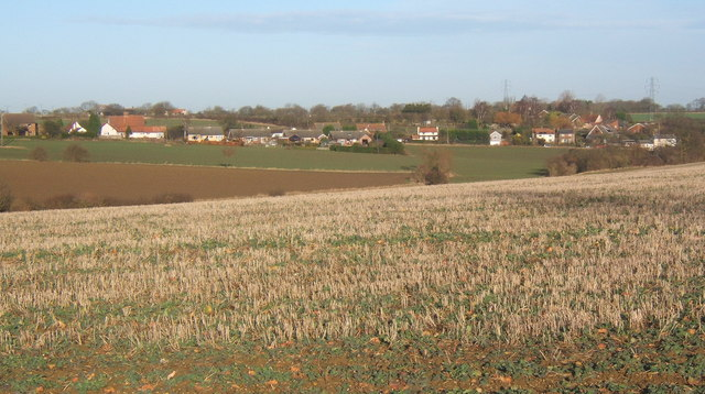 View across fields to Barking / Barking Tye