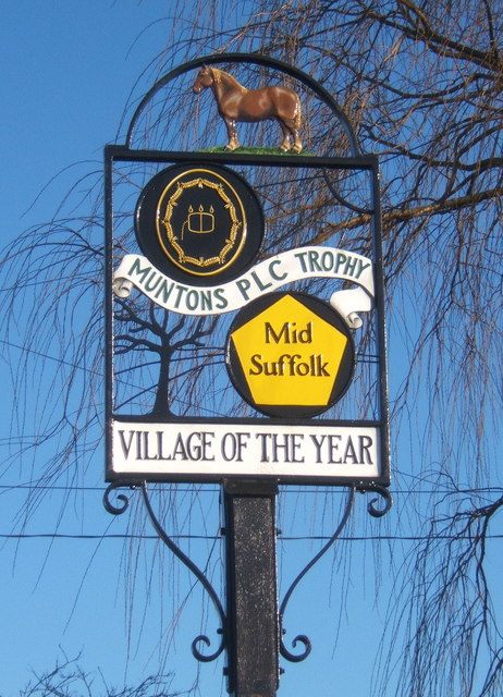 Village award sign, Barking Tye
