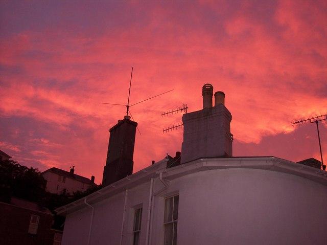 Chimneys and aerials at sunset at Warren Hill