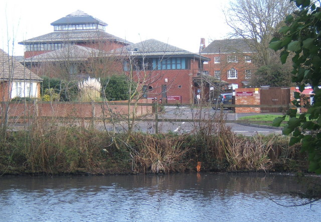 Pond in Needham Market, looking to Mid Suffolk council offices
