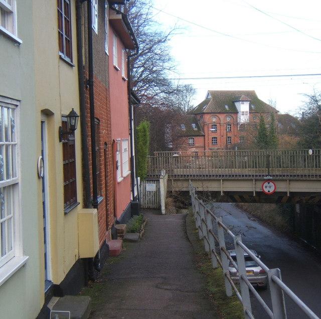 Cottages by low railway bridge, Needham Market
