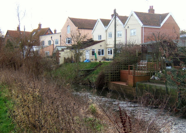 Houses by the River Gipping at Needham Market