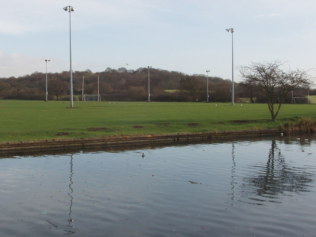 Horsenden Hill, floodlights and playing fields by canal