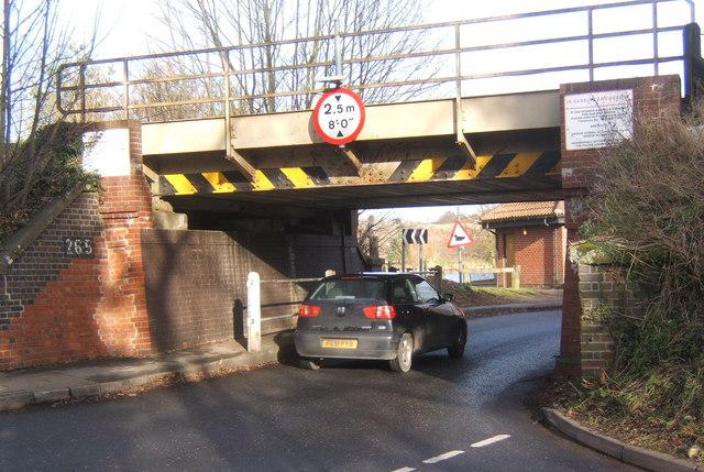 Low railway bridge, B1078 at Needham Market