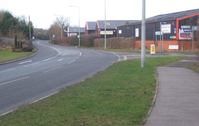 B1113 passes industrial estate before entering Needham Market