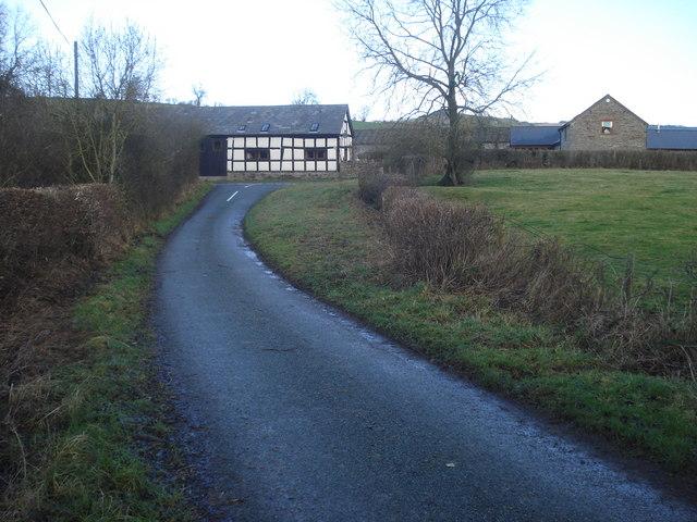 Bedstone lane as it enters Hopton Castle