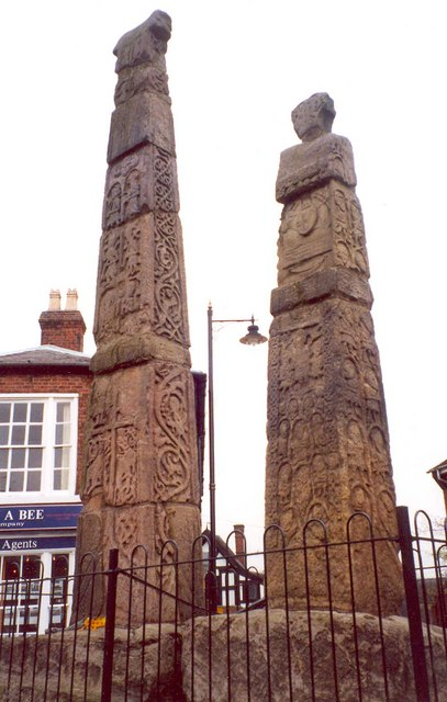 The Sandbach crosses – side view, Market Place, Sandbach