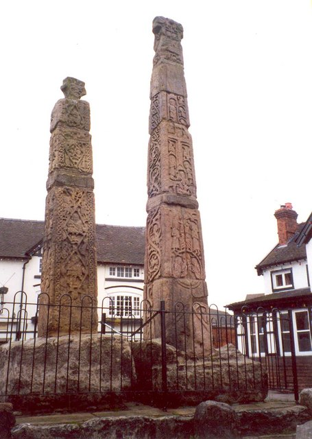 The Sandbach crosses – rear and side view, Market Place, Sandbach