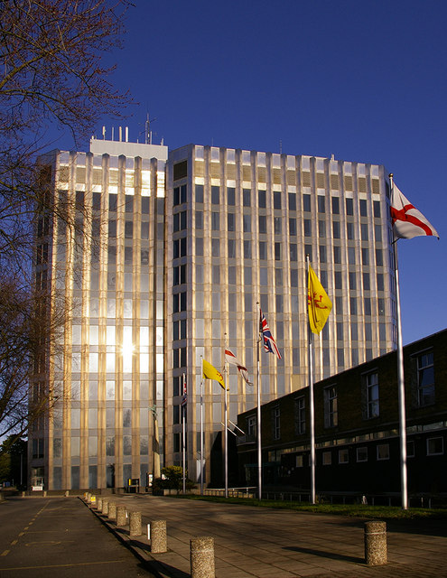 Civic Centre, Silver Street, Enfield, with flagpoles