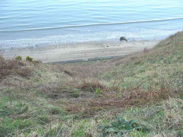 A view down the cliff towards the beach