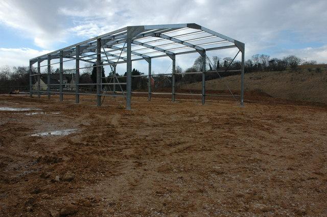 Barn under construction, Seven Springs
