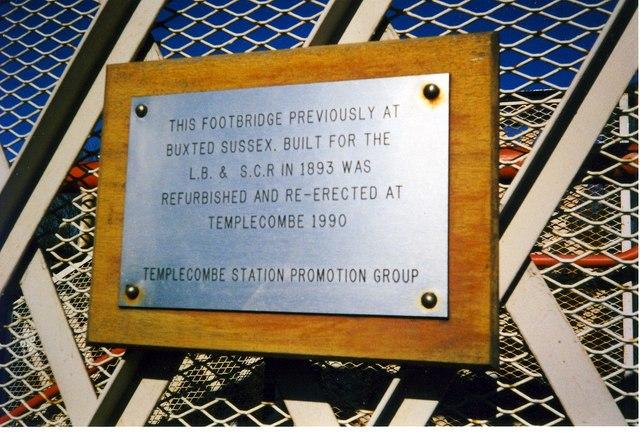 Plaque on Footbridge, Templecombe Station.