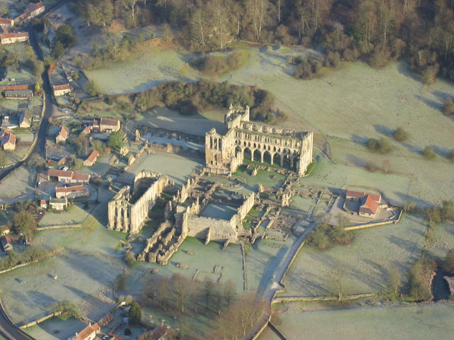 Aerial shot of Rievaulx Abbey in winter