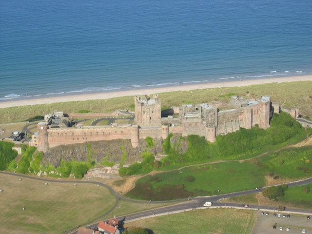 Aerial photo of Bamburgh Castle
