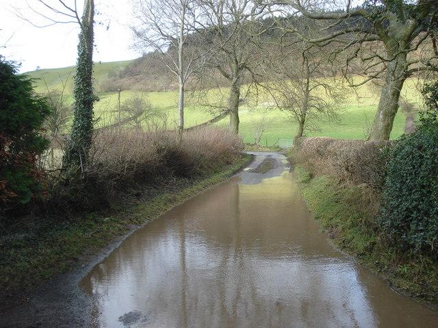 Flooded lane at Obley