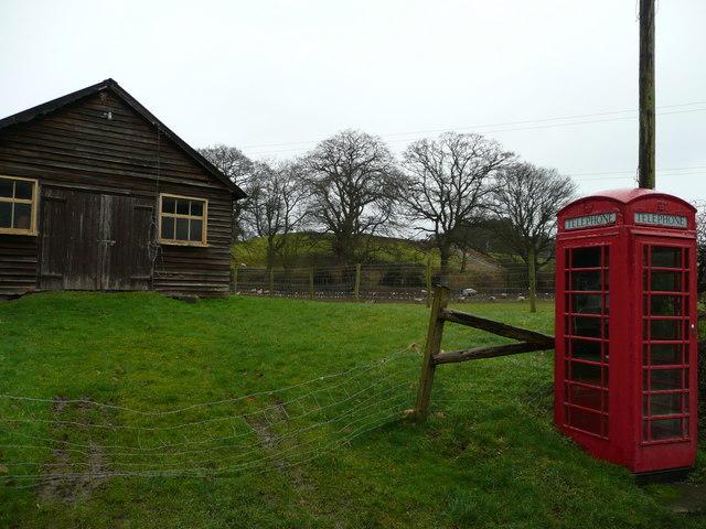 Phone box and hut at Rorrington