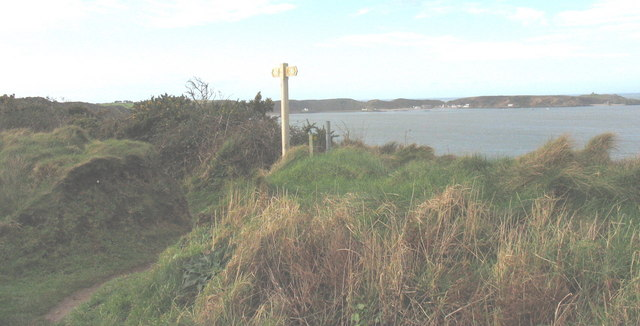 Guidepost on cliff top path
