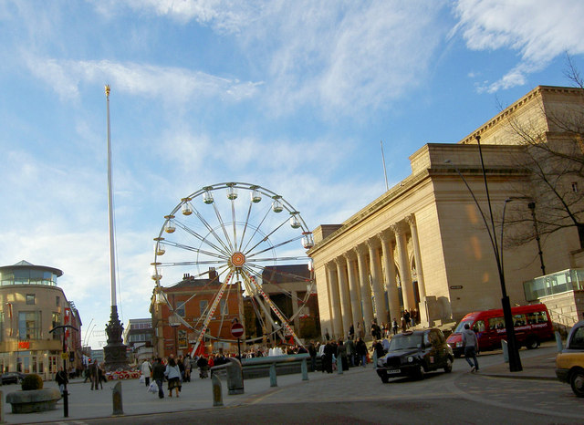 City Hall and ferris wheel