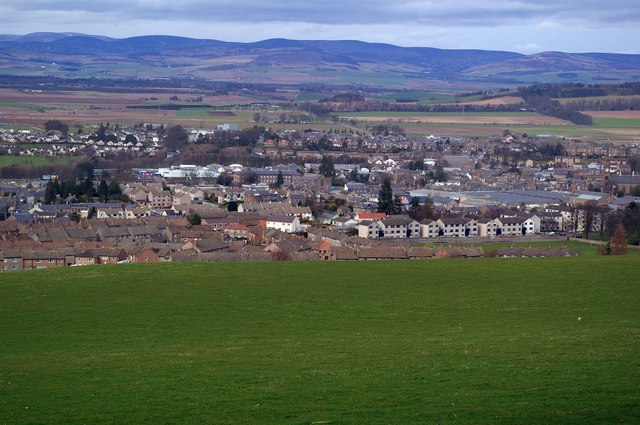 View of Forfar and countryside north of Forfar