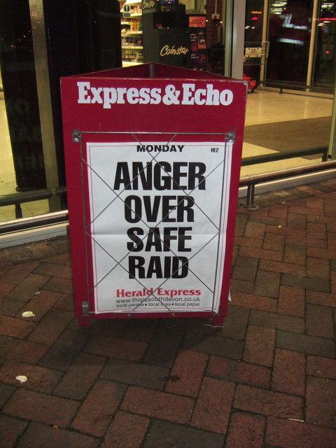 South Devon newspaper headline