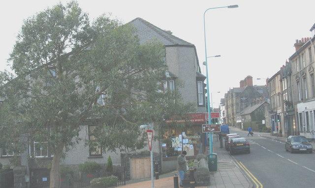 The western half of Criccieth's High Street