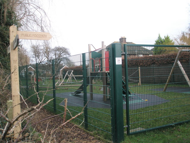 Footpath junction by play area.