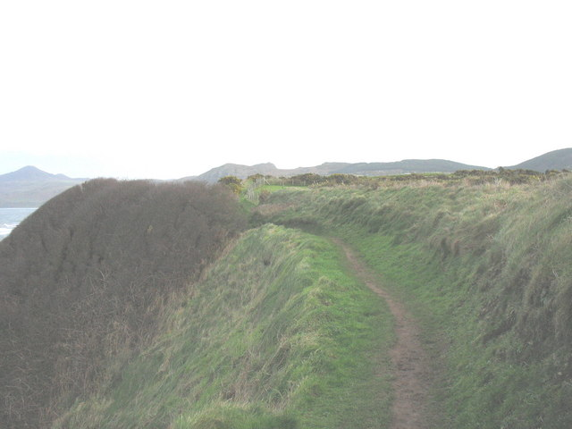 The cliff top path looking east from near Morfa Nefyn