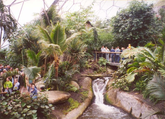 Stream inside the tropical biome, Eden Project, St Blaise CP