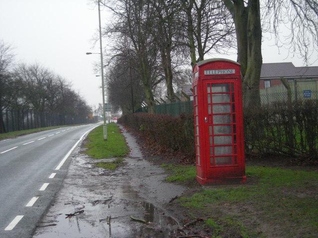 Phone kiosk outside RAF Shawbury