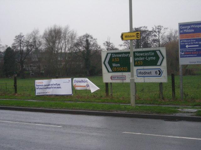 Roadsign near Shawbury