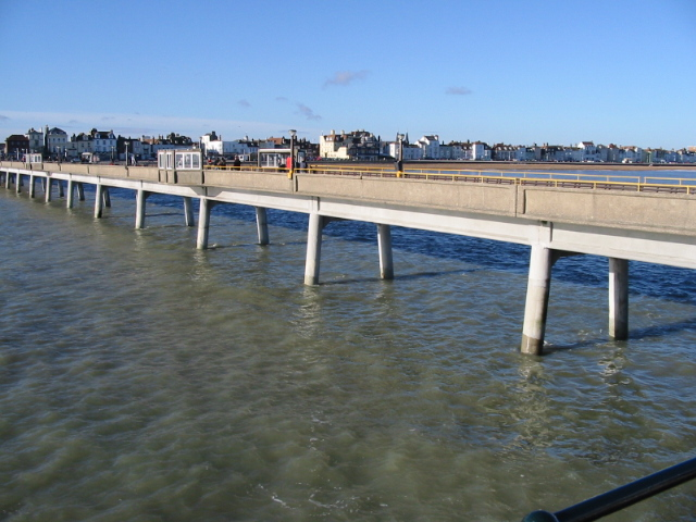 Looking back along Deal pier from the decking on the eastern end