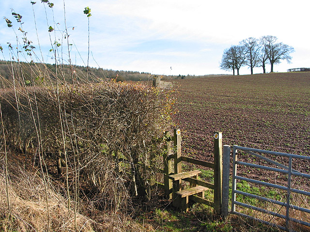 Stile and footpath leading south from Ledbury