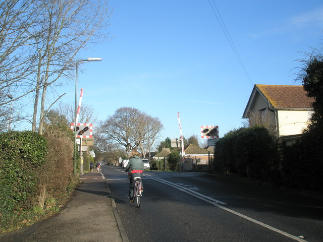 Cyclist approaches the level crossing at Fishbourne