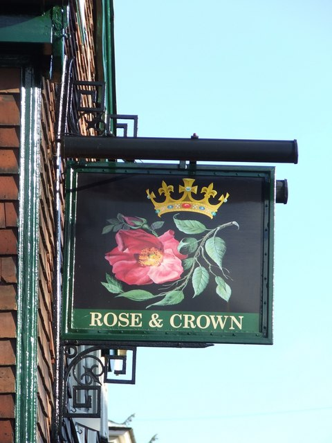 Rose and crown pub sign