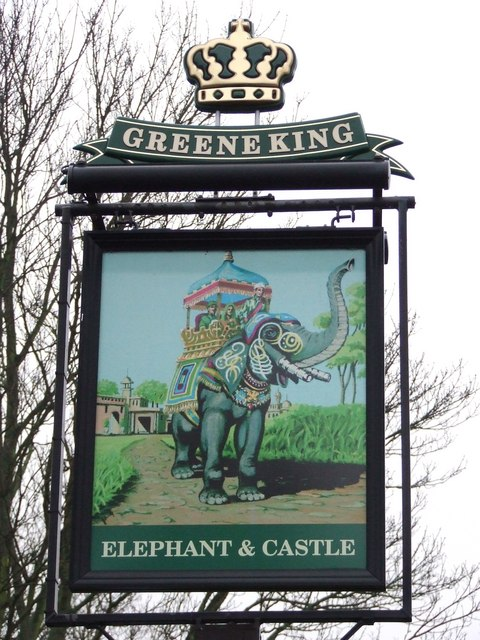 Elephant and castle pub sign