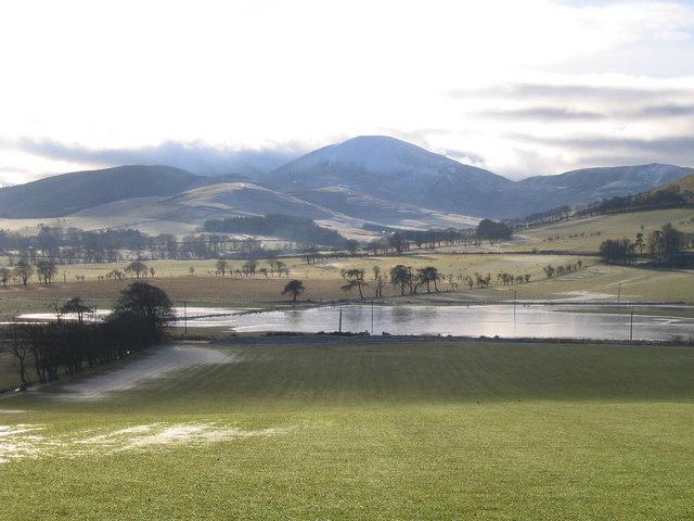 The Biggar Water and flooded farmland
