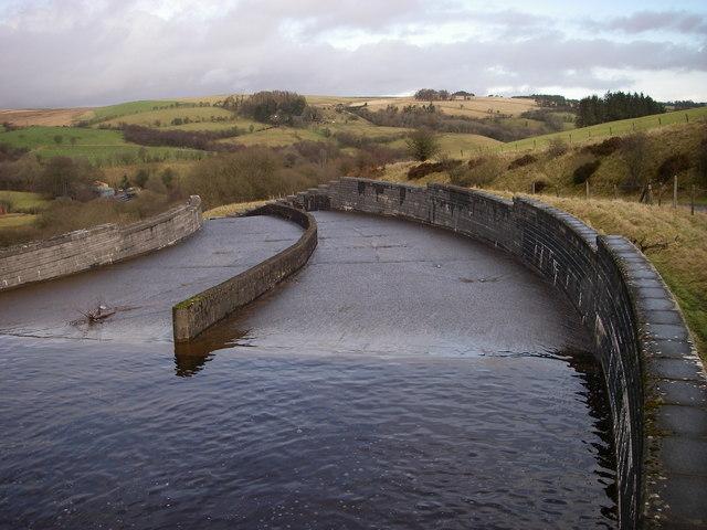 Usk Reservoir spillway