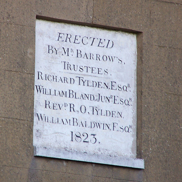 Plaque on rear of Barrow House, Borden