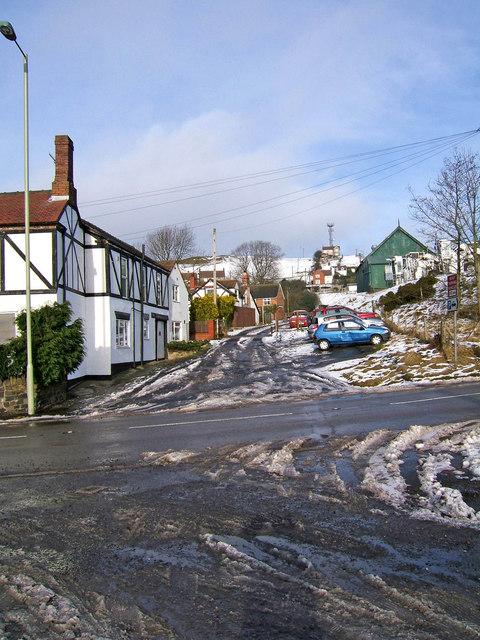 Road opposite car park Cleehill Village