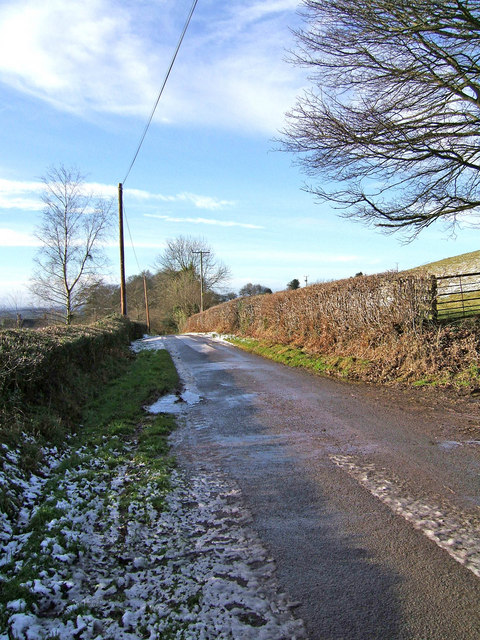 Unclassified road from Blackford leading towards Stoke St. Milborough