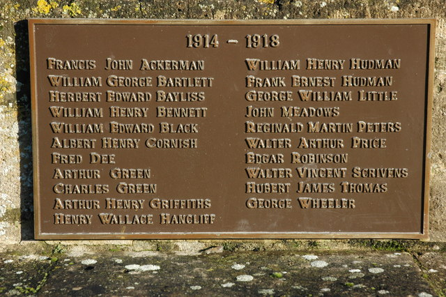 Names on War Memorial, Twyning