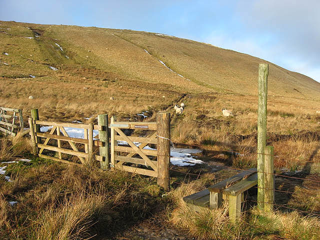 Gate and stile on the Southern Upland Way