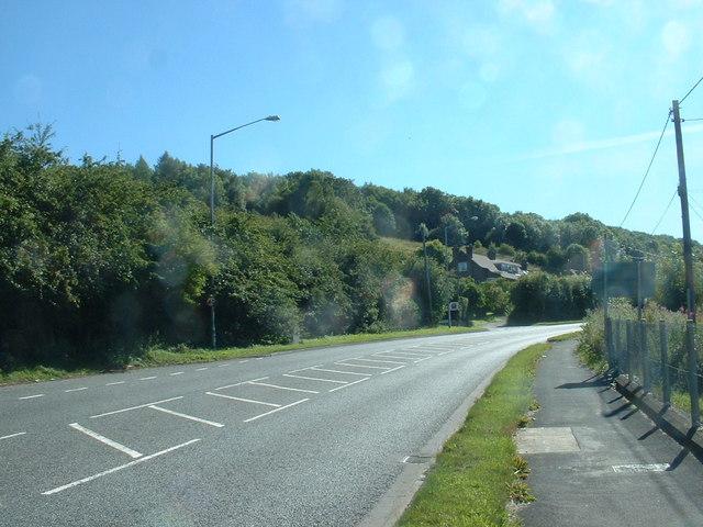 The A494 at Gwernymynydd